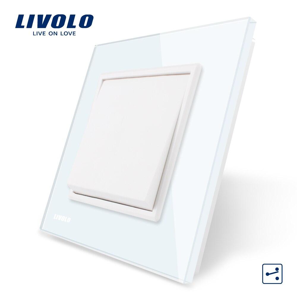 Livolo fabricante estándar de la UE panel de cristal blanco de lujo, botón 2 Way, interruptor VL-C7K1S-11