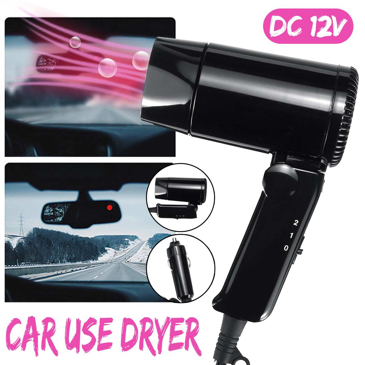 Car-Hair-Dryer Blower Window Portable Camping Mini 12V Travel DC for Vehicle 800W