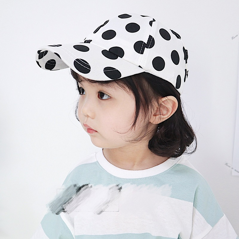 Baby sunshade cap summer breathable hollow thin style boys and girls black-and-white wavy point sunscreen sun