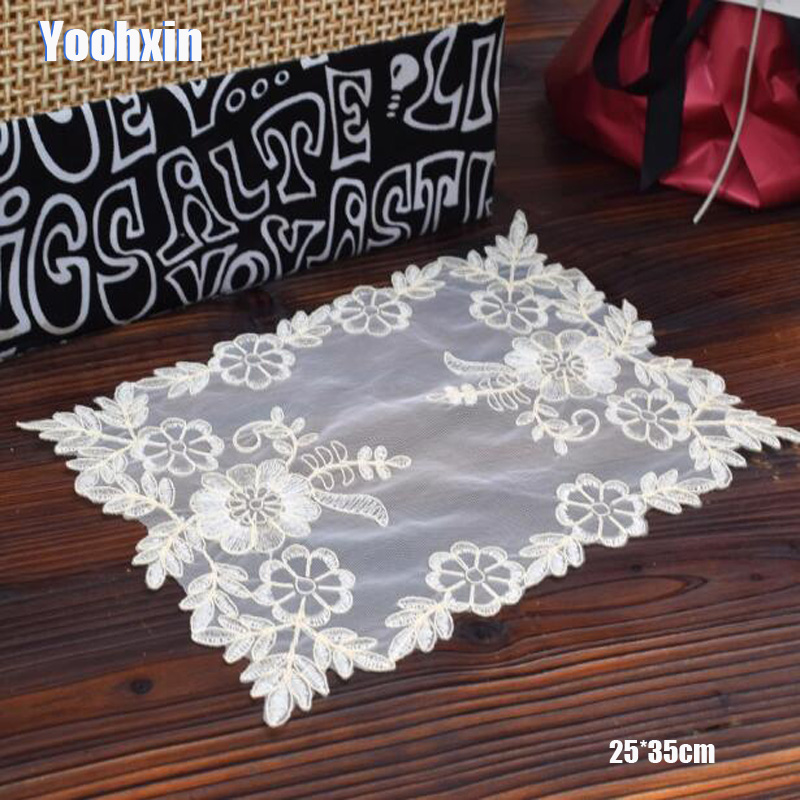 HOT Lace beige embroidery table place mat dish pad Cloth dish placemat cup mug tablecloth tea drink coaster glass doily kitchen in Mats Pads from Home Garden