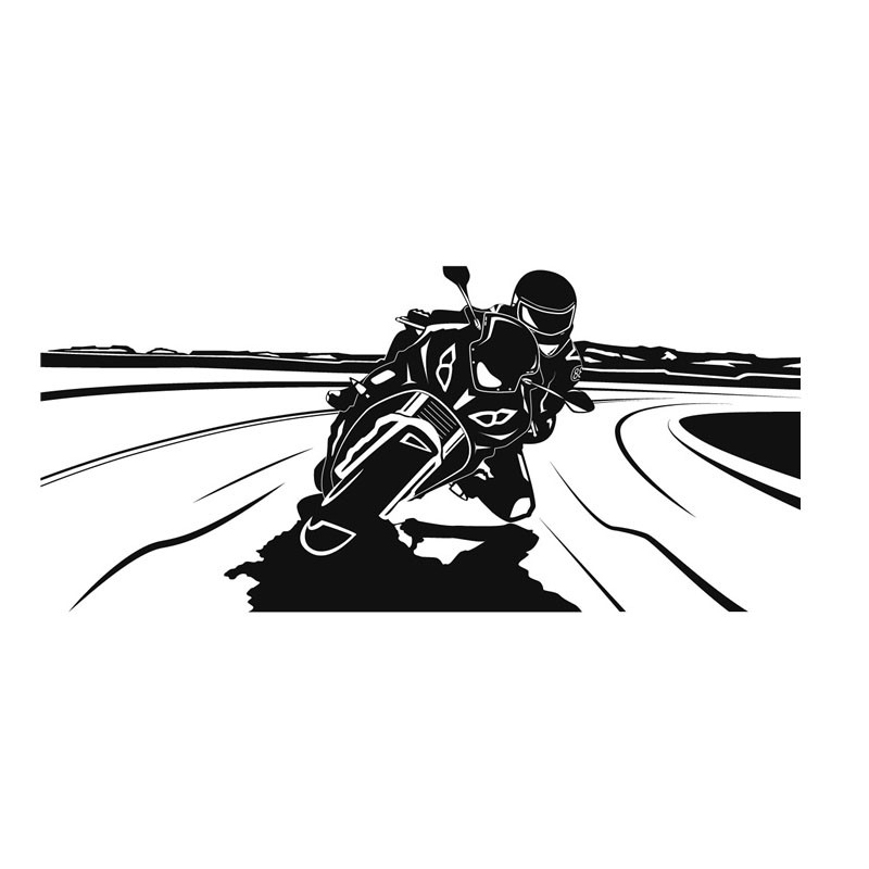 Racing Driver Riding font b Motorcycle b font Wall Decal Sticker Vinyl Removable Hollow Out Art