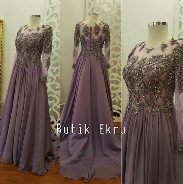 0bd74ce5b78 Real Photo Sequins Arabic Muslim Evening Dresses 2019 Sheer Long Sleeves  Chiffon Lavender Prom Dress Sexy Formal Party Gowns
