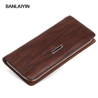 High Quality Cow Split Leather Organizer Wallets Business Men Leather Long Zipper Coin Bag Fashion Card