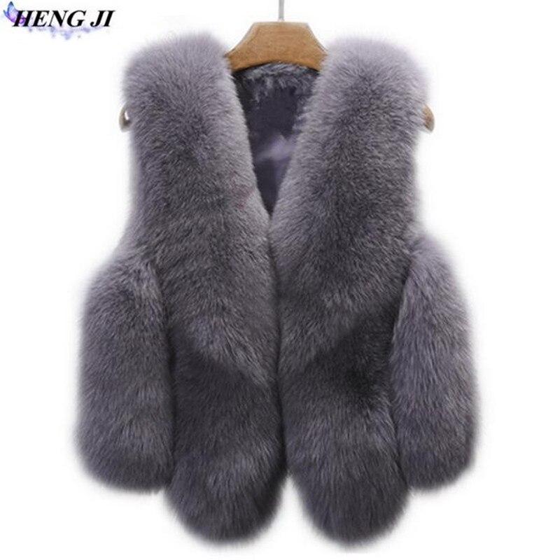 2017 fashion model imitation fox fur vest splicing short hair camper shoulder jacket pure color high