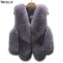 2017 fashion model imitation fox fur vest, splicing, short, hair camper shoulder jacket, pure color, high quality