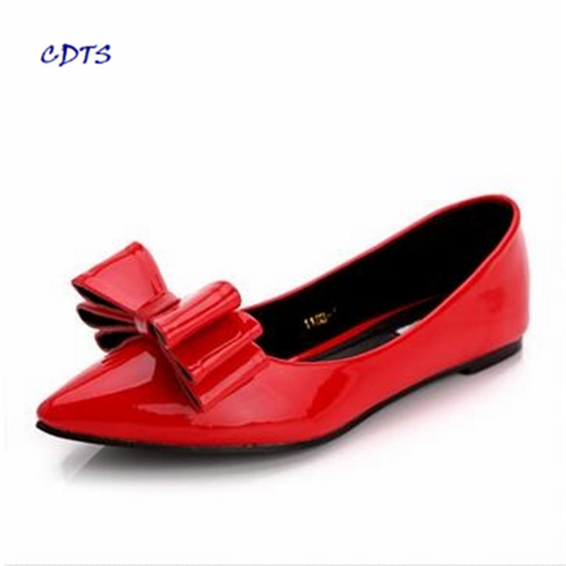 zapatos mujer Sweet Flat single shoes female pointed toe shallow mouth red bow 41-43 plus size 32 33 small yards women's Flats flock women flats 2017 pointed toe ladies single shoes fashion shallow casual shoes plus size 40 43 small yards 33 sapatos