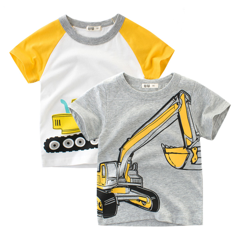 2018 Brand Summer Top Baby Boy T Shirt Excavator Embroidery Gray Short Sleeve Boys T Shirt Pure Cotton Kids Clothes 2-9Y(China)