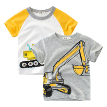 2018 Brand Summer Top Baby Boy T Shirt Excavator Embroidery Gray Short Sleeve Boys Pure Cotton Kids Clothes 2-9Y