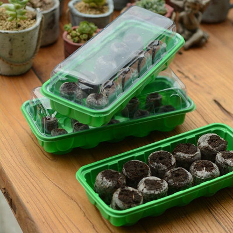 2pcs Of 10 Grid Nursery Trays,with 20pcs*30mm Jiffy Peat Pellets Seeds Starter Kit, Plant Start Kit, Seeds Nursery Tool Set