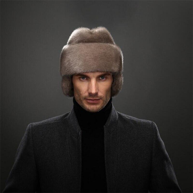 IANLAN French Mens Full-pelt Mink Bomber Hats Real Mink Fur Earmuffs Hats  Solid Winter Outdoor Warm Hats IL00237 44a7cf301de3