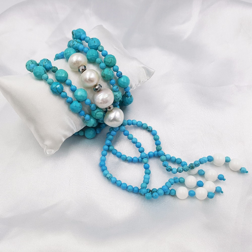 LiiJi Unique Natural Stone Blue Turquoises&Freshwater Baroque Pearl Long Tassels Sweather Necklace 33/84cm