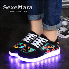 sexemara USB Charger Led infant Glowing sneakers Light Up