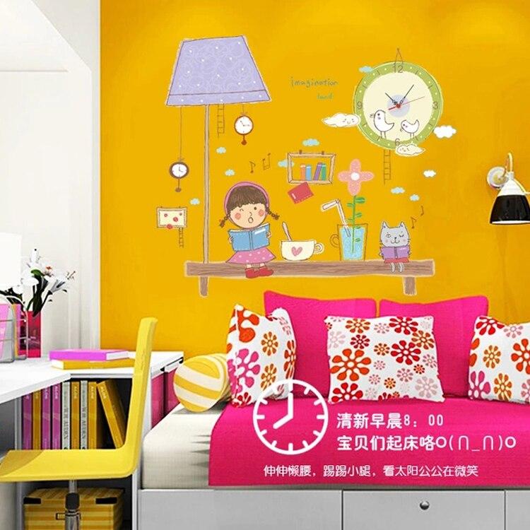 2 piece 80*92CM Girl Boy Morning Reading Wall Decals Clock DIY ...