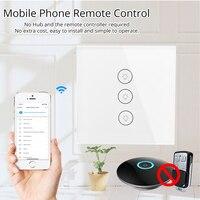 WIFI Smart Touch Schalter APP Wireless Remote Licht Wand Schalter Kristall Glas Panel Arbeitet MitTuya Smart/ Alexa/Google Hause