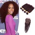 Human Hair Burgundy Brazilian Hair Deep Wave Curly 5pcs Lot 8-30inch Brazilian Deep Wave Red Human Hair 99j Bohemian Curly Hair