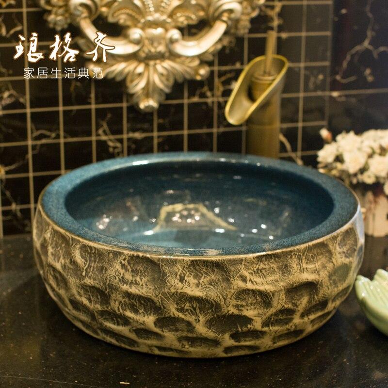 Salle de bains comptoir en céramique antique lavabo sculpté art bassin A034