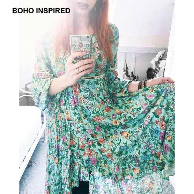 576af8121b5a2 INSPIRED summer dress asymmetrical hollow out back Frill boho dresses  floral print ruffles V-neck women dress 2018 CHIC vestido
