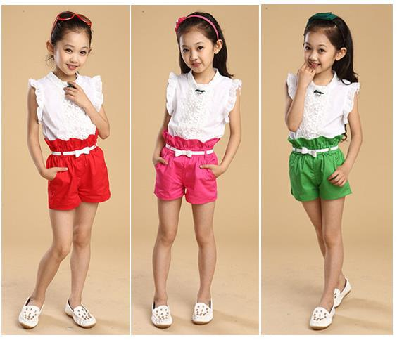 92ff083488b9 new summer kids girl sweet Casual Fashion casual lace Sleeveless Short  Pants Sets 2014 for 4 6 8 10 12 14 years old girl