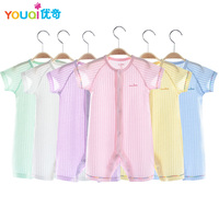 Youqi Baby Girls Clothes 0 24 Months Infant Summer Short Sleeve Romper Cotton Plain Color Newborn