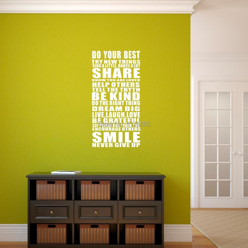 Do Your Best Try New Things Inspiring Quotes Vinyl Wall Decor Sticker for Living Room or Office image