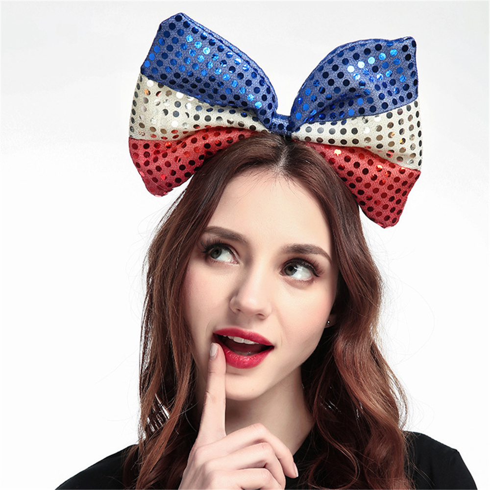 Large Bowknot Bright Cloth Flag Hair Hoop Lovely Big Red Dot Bowknot Hair Hoop Girls Gift Party Decorated Hair Accessories