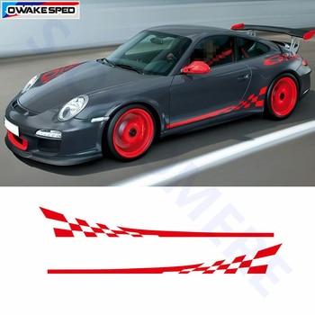 Racing Flag Graphics Sticker Car Door Side Skirt Vinyl Decals For Porsche 911 997 Exterior Accessories Sport Stripes Sticker 1