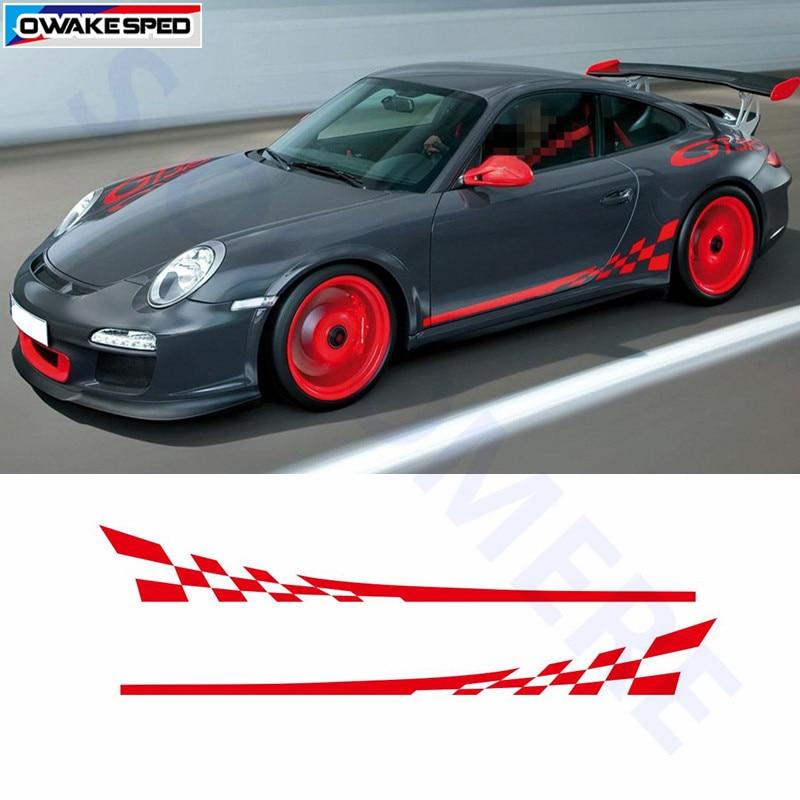 Racing Flag Graphics Door Side Skirt Sticker Auto Body Decor Decals For Porsche 911 997 Exterior Accessories Waterproof Sticker