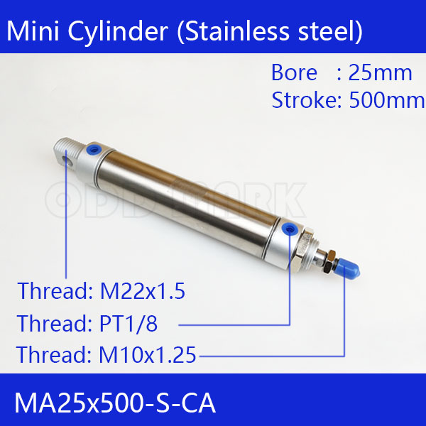 Free shipping Pneumatic Stainless Air Cylinder 25MM Bore 500MM Stroke , MA25X500-S-CA, 25x500 Double Action Mini Round Cylinders trt