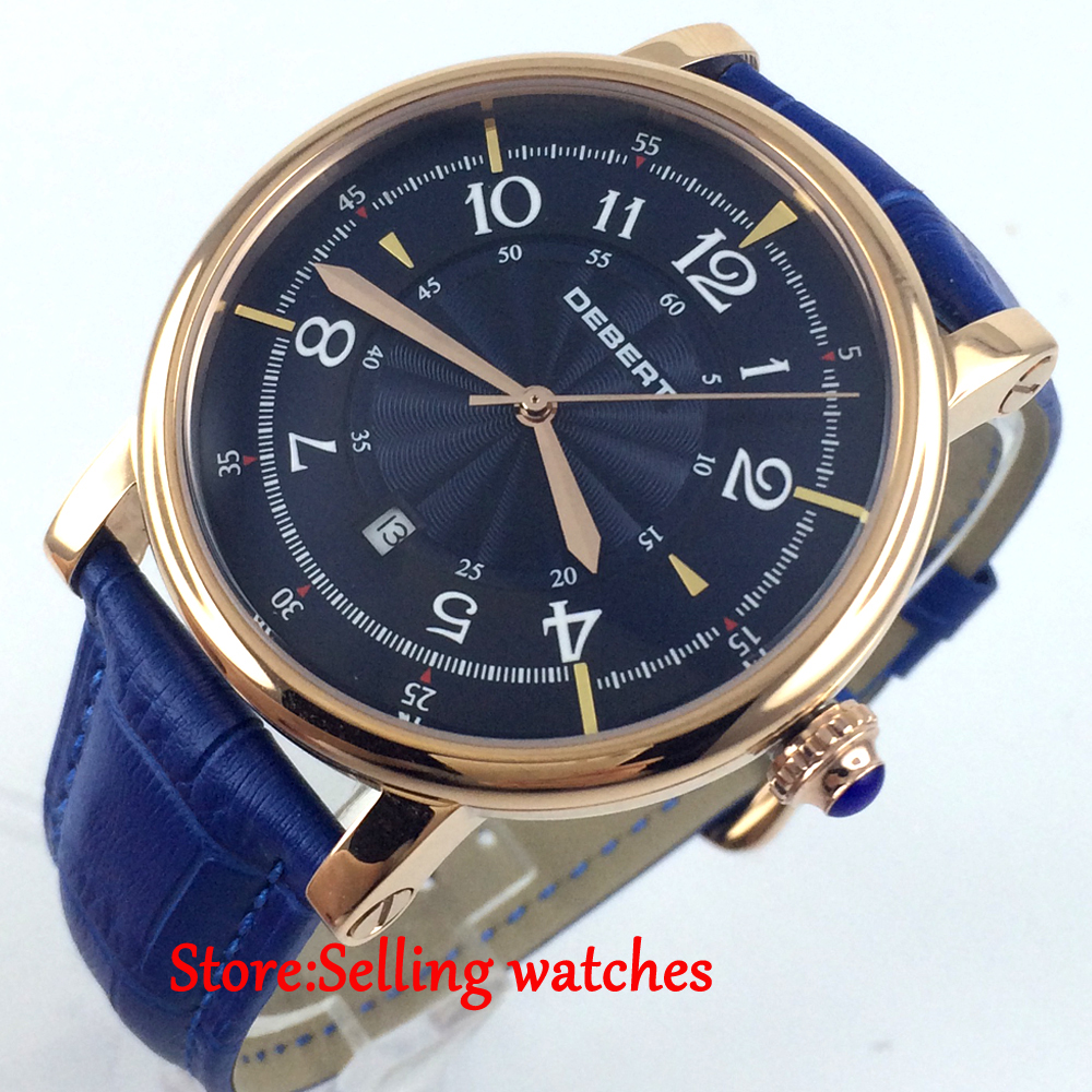 43mm debert blue dial rose golden case 21 jewels diving Automatic mens Watch цена и фото