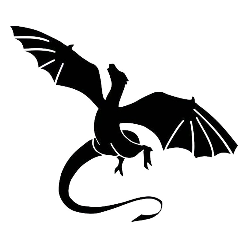 17.1*14.8CM Vinyl Animal Car Styling Car Stickers Dragon With Wings Fashion Decal Black/Silver S1-2245