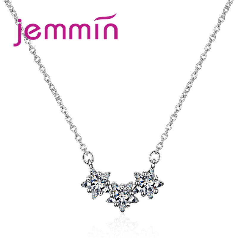 Hot Fashion Star Pendant Necklaces For Women Girls 925 Sterling Silver Shining Zirconia Statement Necklaces Free Shipping
