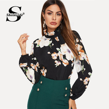 Sheinside Elegant Blouse Women Keyhole Back Mock-neck Floral Print Top Female Black Shirt Frilled Collar Womens Tops and Blouses