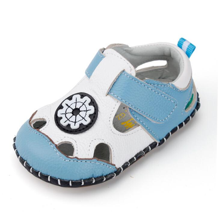 Summer New Toddler Baby Sandals Soft Genuine Leather Baby Sandals Breathable Hollow Style Baby Sandals For 0-2 Years