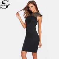 Sheinside Lace Bow Tie Cutout Back Party Dress 2017 Black Club Dresses Halter Sexy Bodycon Dress