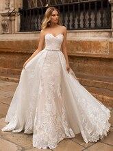 Fmogl Sexy Backless Sweetheart Ren Mermaid Wedding Dresses 2019 Elegant Appliques Có Thể Tháo Rời Train Vintage Trumpet Bridal Gown