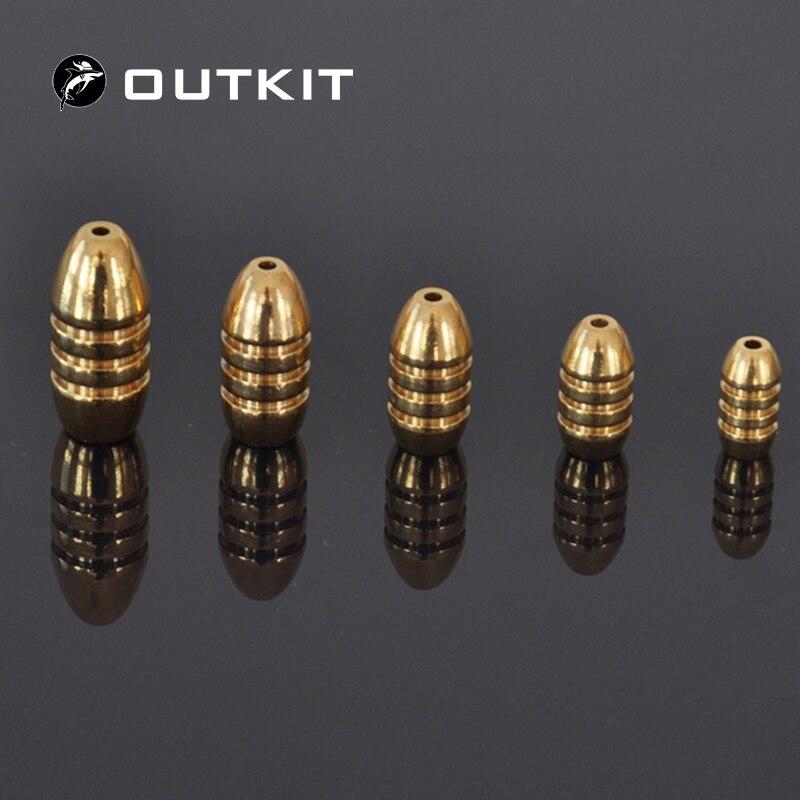 OUTKIT 10pcs/lot Copper Lead Sinker Weights 10g,7g,5g,3.5g,1.8g Sharped Bullet Copper Fishing Accessories Fishing Tackle herramientas para el aseo de la casa