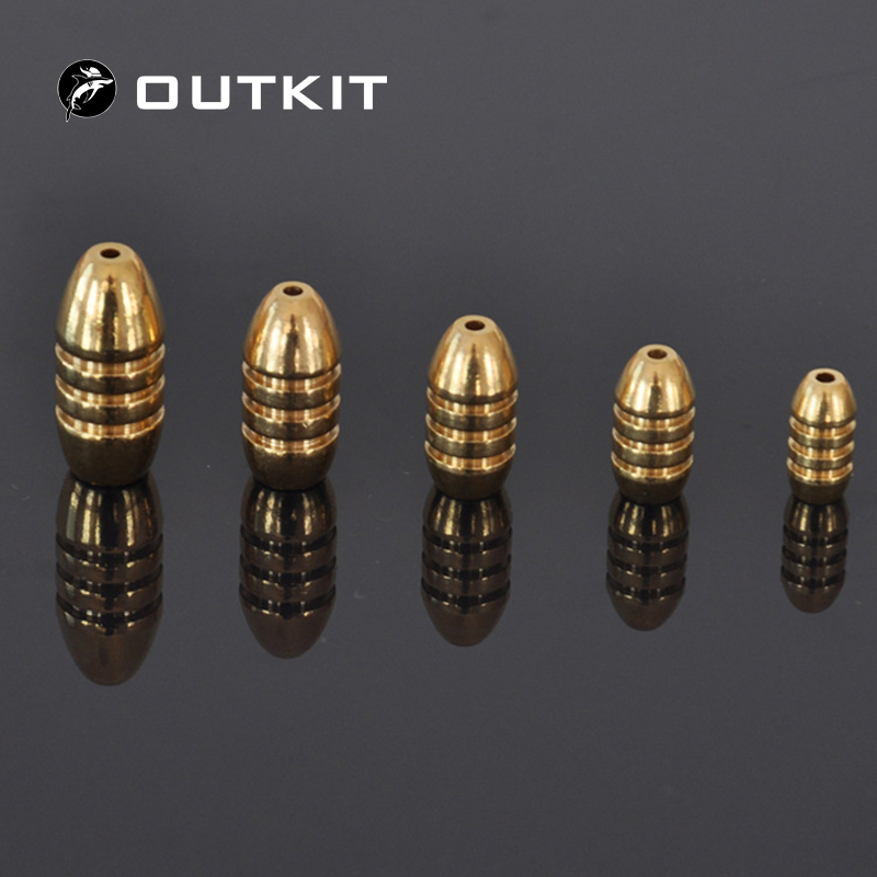 OUTKIT 10pcs/lot Copper Lead Sinker Weights 10g,7g,5g,3.5g,1.8g Sharped Bullet Copper Fishing Accessories Fishing Tackle