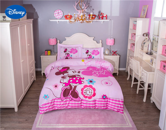 Cute Pink Disney Minnie Mouse Cartoon Printed Bedding Set for Girls ...
