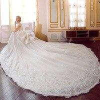 Vestido de Noiva Appliques Lace Flowers Wedding Dresses 2018 Sweetheart Neck Pearls Royal Train Empire Bridal Dress