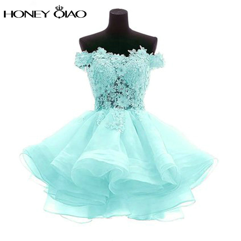 Honey Qiao Puffy Short Homecoming Dresses 2017 New Off the Shoulder Prom Gowns Cheap Dress to Cocktail Party Mini Prom Ball Gown