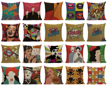 Hollywood Movies Star Pattern 18x18 inches Cotton Linen Waist Pillowcase Chair Square Pillow Cover creative color matching five pointed star pattern square shape pillowcase without pillow inner