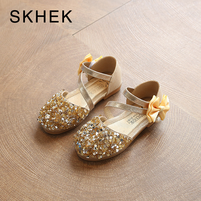 SKHEK Brand Kids Shoes Girls Sandals Casual Shoe Fashion Children Wear Sequins bow Autumn Shoes Princess PU SKU A036