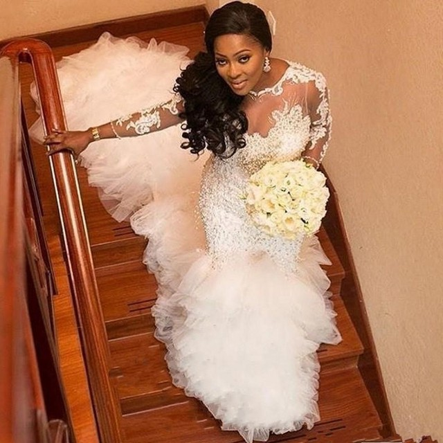 africa wedding gown romantic vestido de noiva long wedding dress