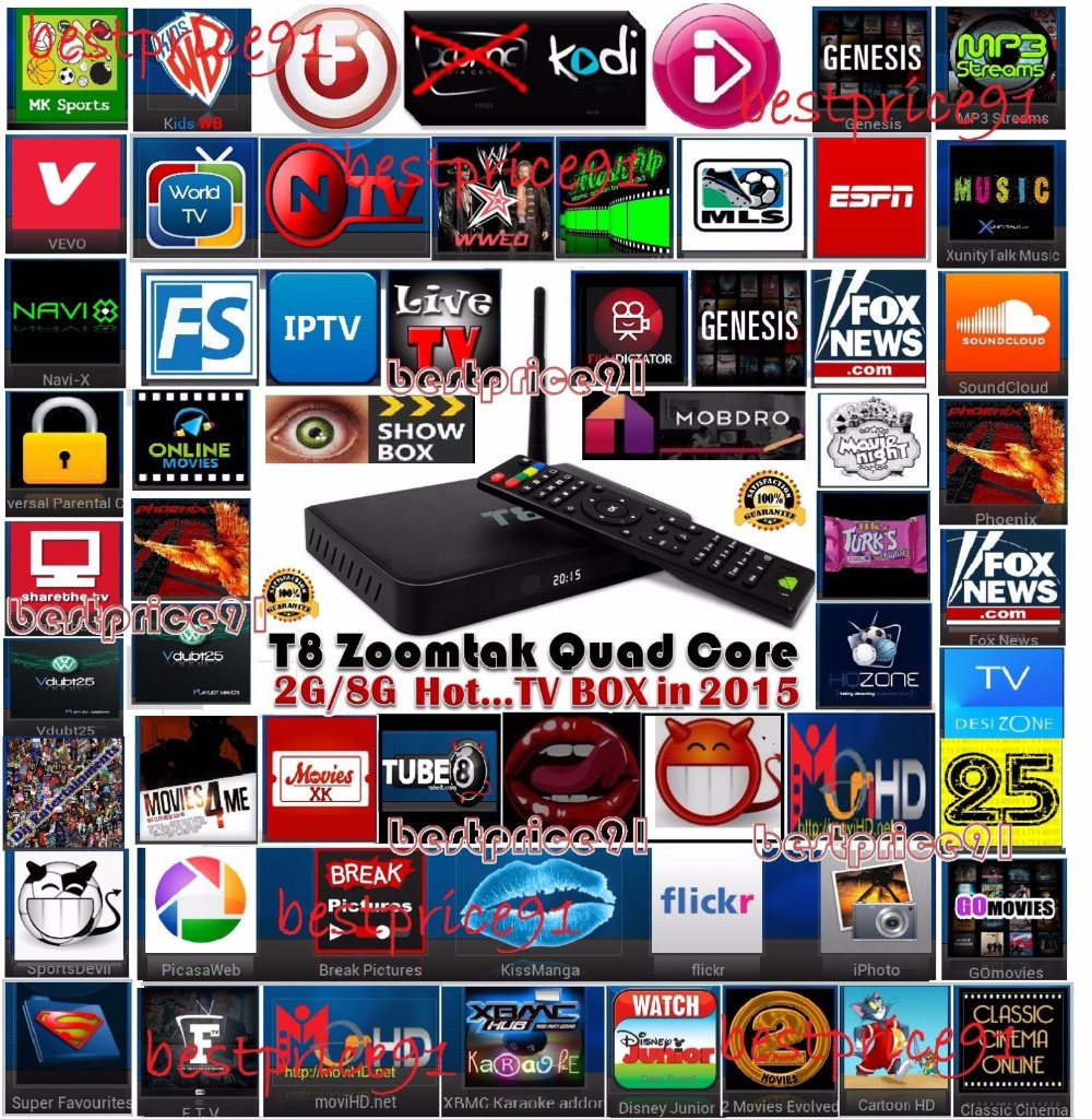 US $136 0 |Droidbox T8 KODI HELIX 14 2 Version Android TV Box Fully loaded  plug & play, 2GB 8GB internet TV Adult devil XXX Free-in Set-top Boxes from
