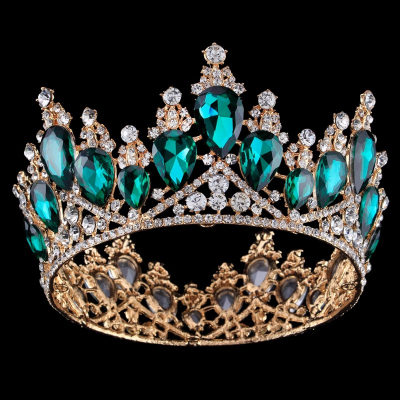 2018 Sparkly Green Crystal Gold Color Bride Hairbands Wedding Tiaras Crowns Bridal Quinceanera Pageant Tiaras Hair Accessories