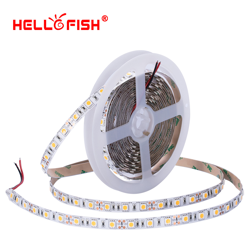 High brightness CRI 5050 led diode strip light DC 12 24 V flexible light stripe 5m 60 LED tape lights & lighting Hello Fish