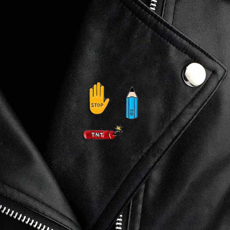 クリエイティブ漫画ミニ 3 色鉛筆停止ジェスチャーエナメルピン金属ブローチボタンデニムジャケットバッジブローチファッションジュエリー