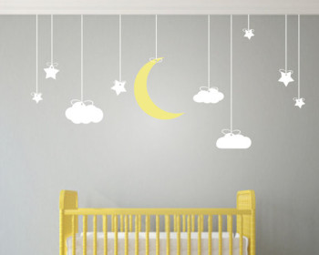 stars, moon & clouds wall sticker
