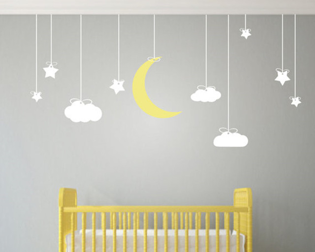 190X78cm Hanging Stars And Moon Clouds Wall Art Stickers  Removable Wall  Stickers For Kids Room