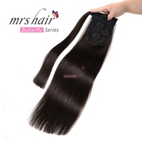 MRS HAIR Ponytail Human Hair Clip In Black / Blonde Machine Made Remy Hairpieces Straight Clip In Hair Extensions 14 18 22